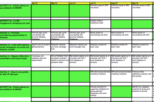 Sample activities log from Theory of Change
