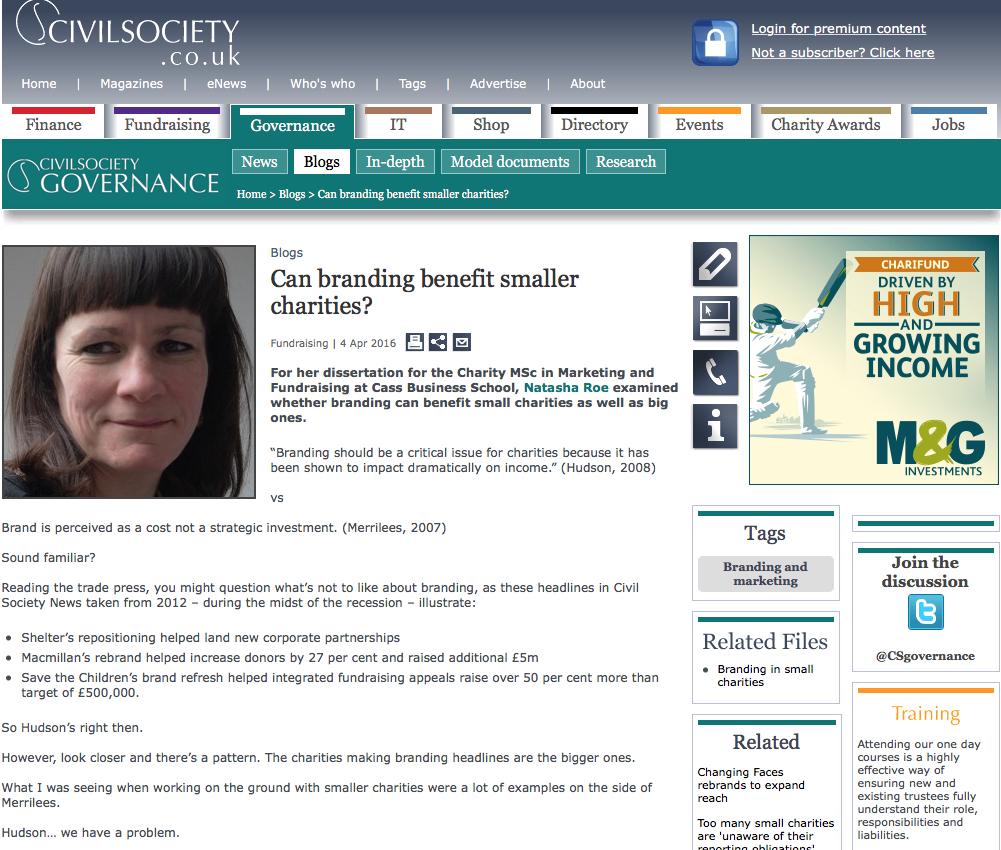 Civil Society screen shot - small charity branding blog